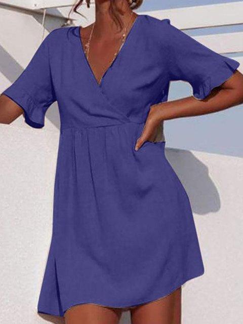Cross Front V-neck Pleated Casual Mini Dress