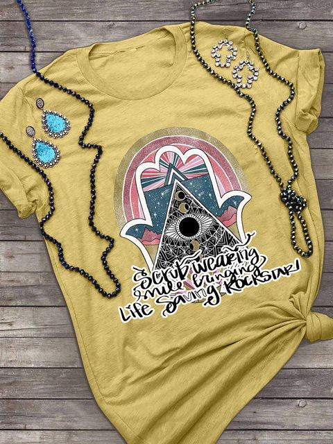 Yellow Geometric Short Sleeve Crew Neck Cotton Shirts & Tops