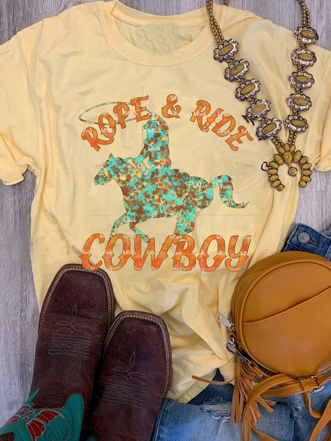 Light Yellow Vintage Crew Neck Printed Letter Shirts & Tops