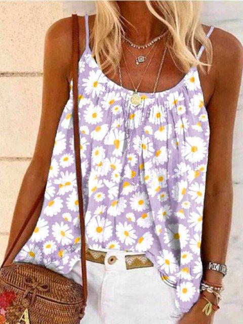 Purple Floral-Print Sleeveless Shirts & Tops