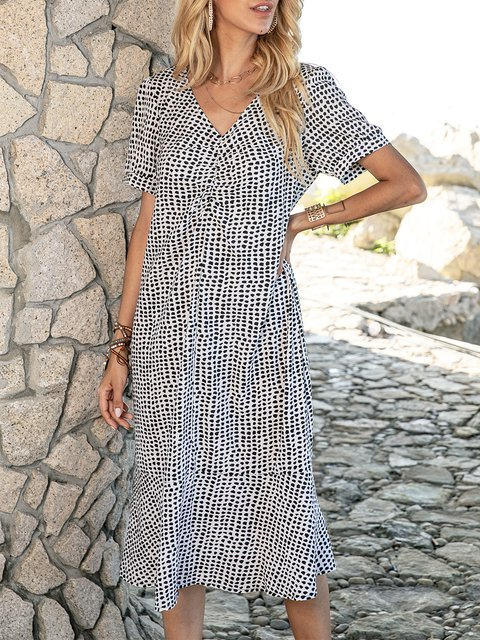 Black White V Neck Geometric Printed Short Sleeve Maxi Dresses