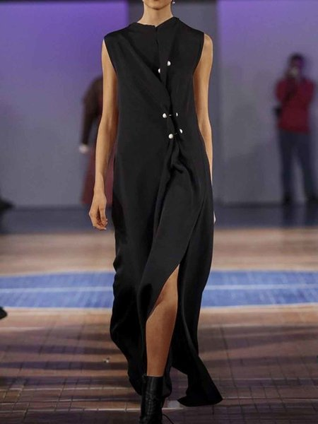 Black Sleeveless Round Neck Cotton-Blend Dress