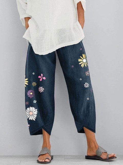 Floral Casual Cotton-Blend Pants