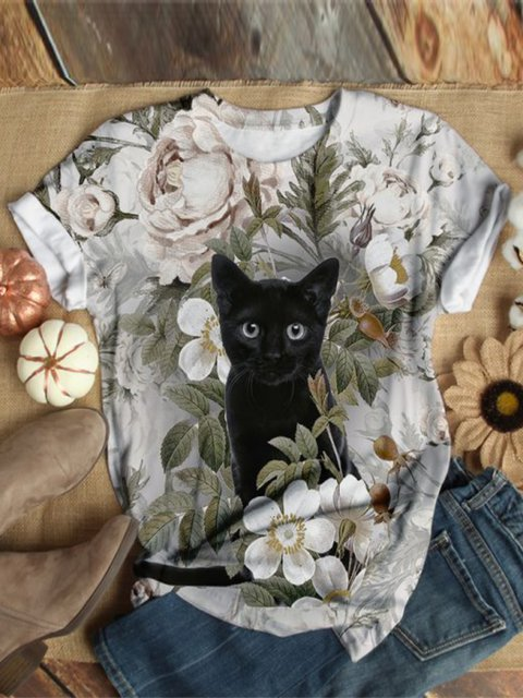 Cat Pattern Casual Floral-Print Shirts & Tops
