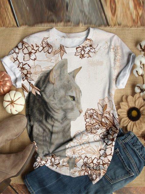 Cat Pattern Floral-print Shirts & Tops