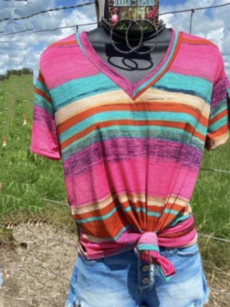 Multicolor Cotton Stripes Shift Short Sleeve Shirts & Tops