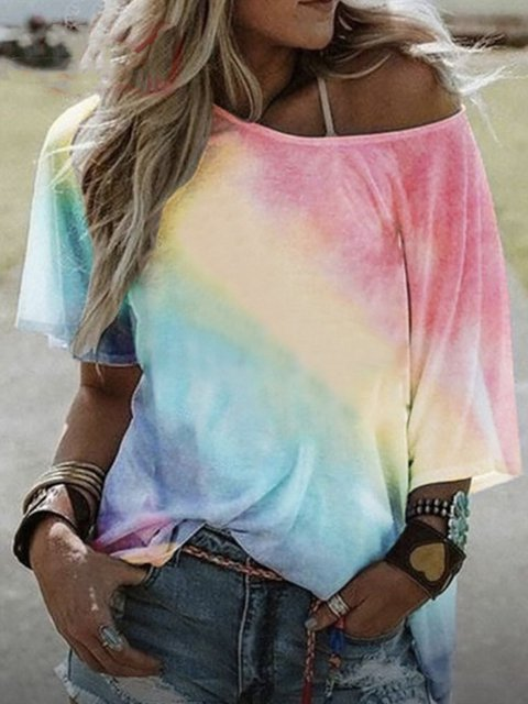 Tie-Dye Print Casual Cotton T-Shirts & Tops