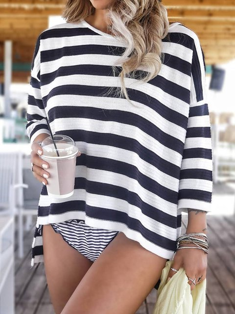 Black Casual 3/4 Sleeve Stripes Shirts & Tops