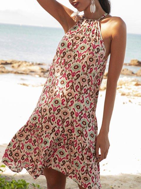 Light Pink A-Line Printed Halter Sleeveless Mini Dresses