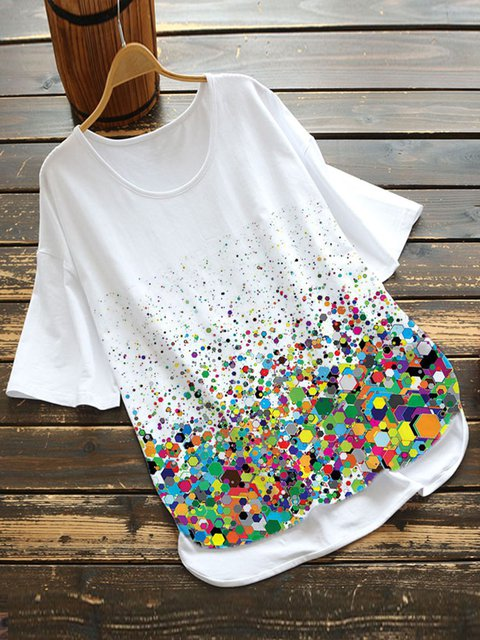 White Polka Dots Casual Cotton-Blend Shirts & Tops