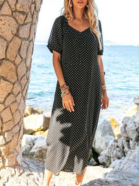 Coffee Crew Neck Short Sleeve Chiffon Floral Maxi Dresses