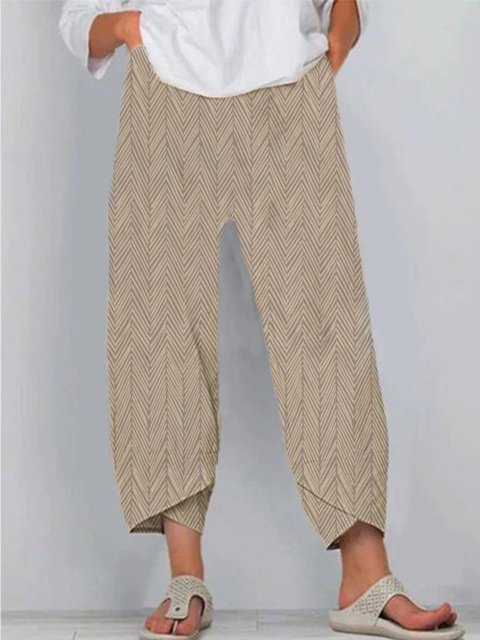 Casual Cotton-Blend Printed Pants