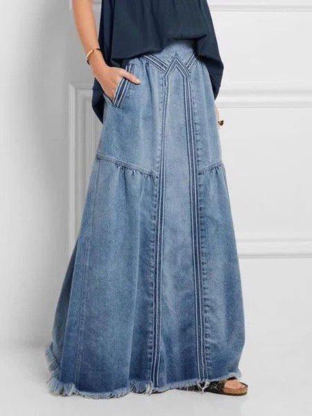 Women Denim Basic Plain Shift Plus Size Loose Skirts