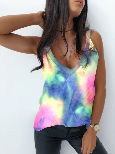 V Neck Printed Casual Vests Tank Tops