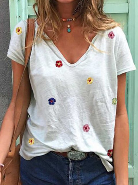 White Printed Short Sleeve V Neck Cotton Shirts & Tops