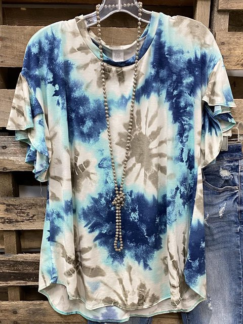 Blue Short Sleeve Dip-Dyed Casual Shirts & Tops