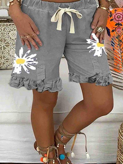 Gray Cotton Floral Casual Floral-Print Pants