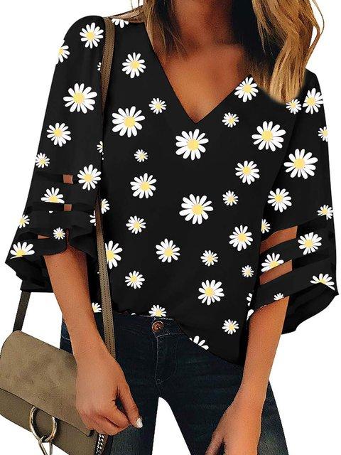 Black Casual V Neck Shirts & Tops