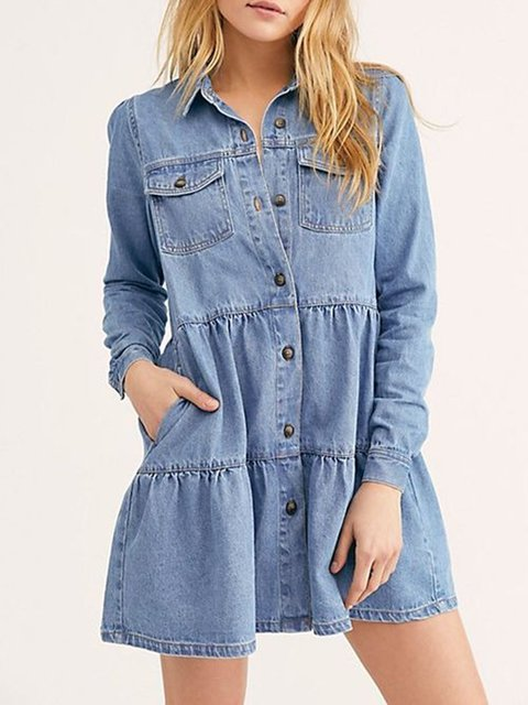 Blue Shirt Collar Plain Long Sleeve Denim Dresses