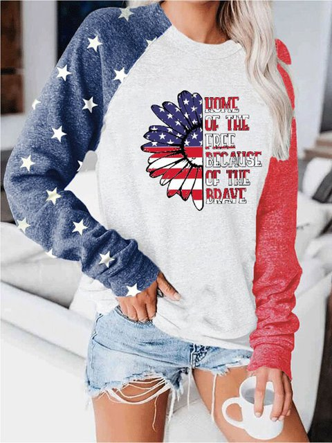 Home Of The Free Because Of The Brave Print Pullover