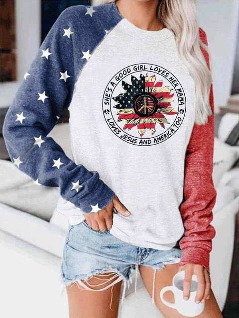 She's A Good Girl Loves Her Mama Loves Jesus And America Too Colorblock Top