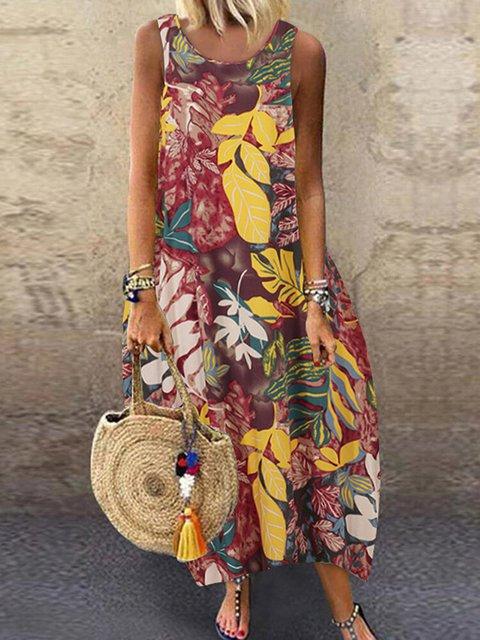 Flower Printed Sleeveless Round Neck Dress