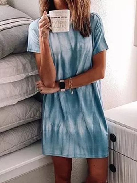 Blue Crew Neck Short Sleeve Dresses