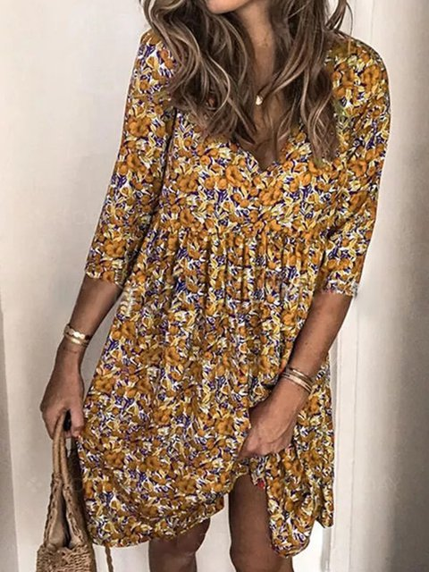 Yellow Floral-Print Holiday Floral V Neck Dresses