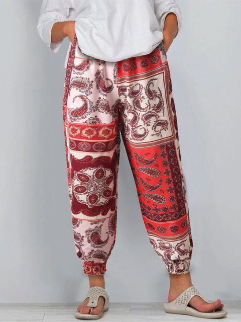Flower Paisley Casual Pants