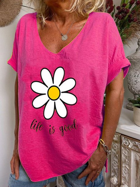 Floral Print V Neck Short Sleeve T-Shirts Tops