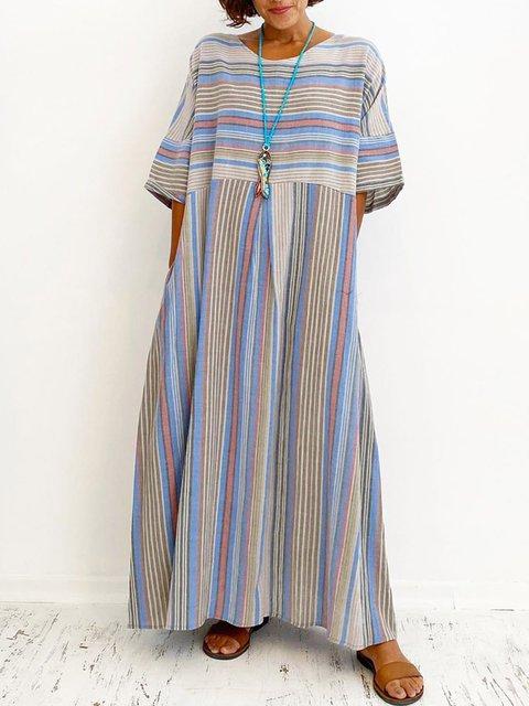 Striped Maxi Dress Summer Plus Size Dresses