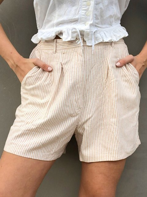 Striped Pockets Shorts Women Summer Plus Size Pants