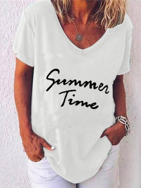 Letter Short Sleeve Shirts & Tops