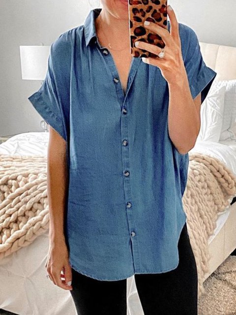 Blue Buttoned Short Sleeve V Neck Shirts & Tops