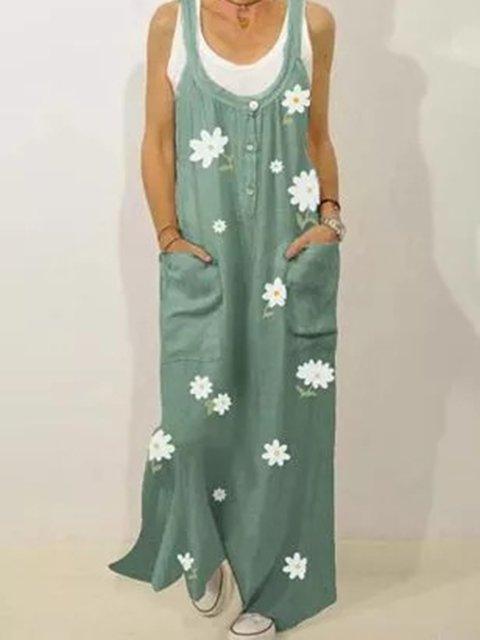Green Crew Neck Sleeveless Cotton-Blend Dresses