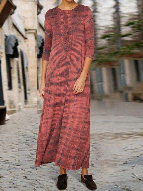 Casual Crew Neck Dresses Gradient maxi dress