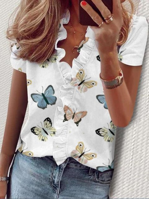 White Simple Cotton-Blend Ruffled V Neck Shirts & Tops