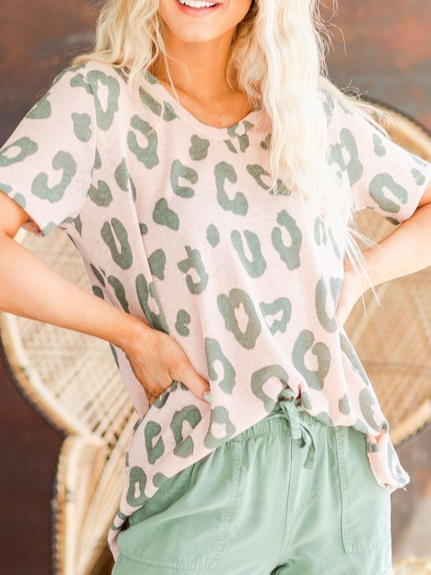 Leopard Print V-neck Soft Short Sleeve T-shirts
