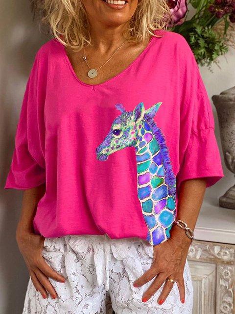 Pink V Neck Short Sleeve Shirts & Top