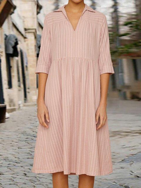 Pink Shirt Collar Stripes Half Sleeve Dresses
