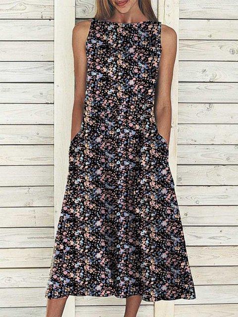 Multicolor Floral-Print Sleeveless Crew Neck Dresses