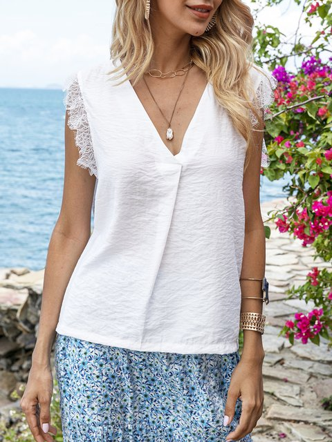 White Mesh Plain Holiday V Neck Shirts & Tops