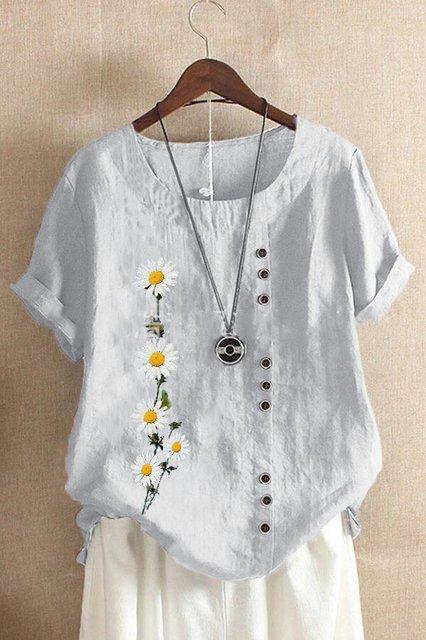 Cotton Printed Short Sleeve Shirts & Tops