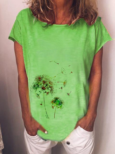 Green Round Neck Simple Cotton-Blend Printed Shirts & Tops
