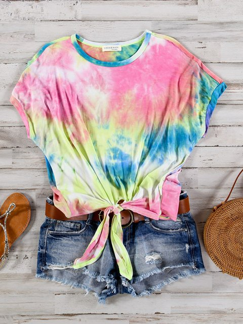 Multicolor Ombre/tie-Dye Crew Neck Cotton Holiday Shirt& Top