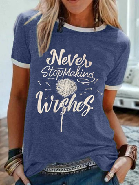 Vintage Short Sleeve Dandelion Never Stop Making Wishes Letter Printed Crew Neck Plus Size Casual Tops