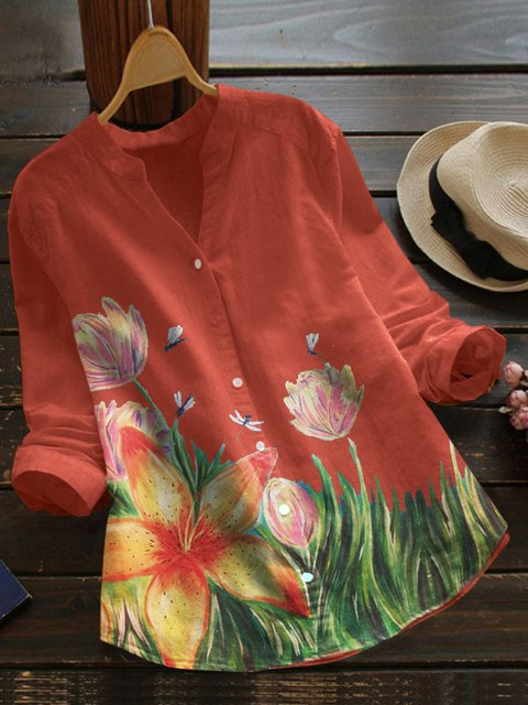 Orange Cotton-Blend Boho Floral Shirts & Tops