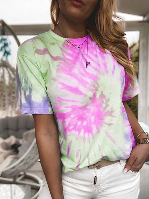 Multicolor Cotton-Blend Dip-Dyed Short Sleeve Casual Shirts & Tops