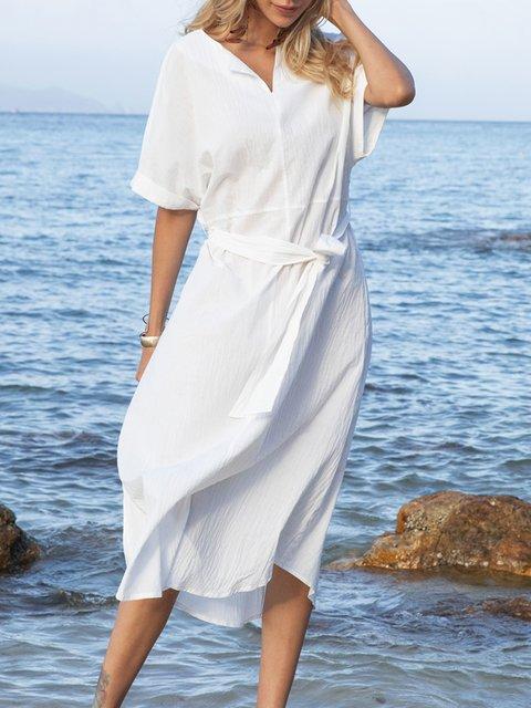 White Shift Short Sleeve Paneled Plain Dresses