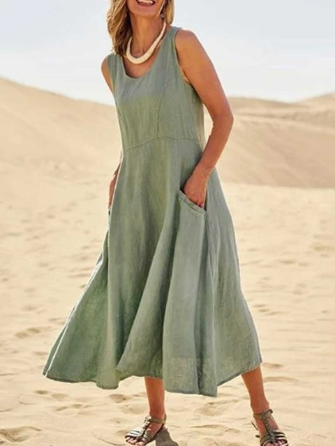 Lightgreen Holiday Round Neck Cotton Solid Dresses